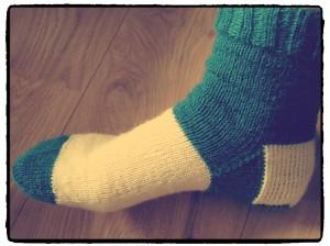 Socke angezogen